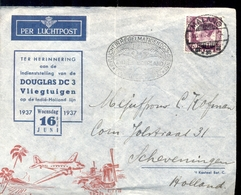 Scheveningen - Den Haag - Luchtpost - DC3 - 1937 - Malang - Poststempels/ Marcofilie