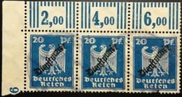 DR 1924 Dienst 20PF Adler Walze 3erStreifen ECKE OL Gestempelt MiNr.: D108 Mi€ : 450,00 - Deutschland