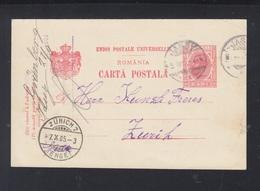 Romania Stationery 1905 Iasi To Zürich - Postal Stationery