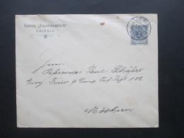 Krone / Adler Nr. 52 EF Umschlag Des Verein Unzertrennlich Leipzig Nach Möckern An Einen Referendar In Freiwilligen Inf. - Covers & Documents