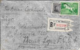 LUZ INTELMANN DE MONTEVIDEO URUGUAY EN 1937 LE ENVIA ESTE SOBRE A LUIS GOLDSCHMIDT CERTIFICADO AEREO A VICENTE LOPEZ Y P - Uruguay