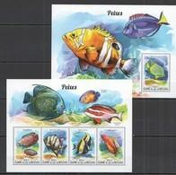 ST1007 2015 GUINE GUINEA-BISSAU FAUNA FISH & MARINE LIFE PEIXES KB+BL MNH - Meereswelt