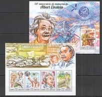 ST1028 2015 GUINE GUINEA-BISSAU FAMOUS PEOPLE ANNIVERSARY ALBERT EINSTEIN KB+BL MNH - Albert Einstein