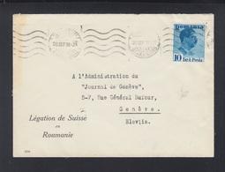 Romania Cover 1938 Swiss Embassy - 1918-1948 Ferdinand, Charles II & Michael