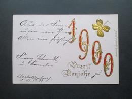 DR 1900 Krone / Adler Präge / Zierkarte Prosit Neujahr Stempel K1 Charlottenburg Nach St. Andreasberg Im Harz Mit Ak Ste - Covers & Documents