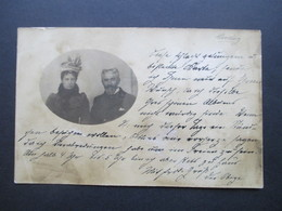 DR 1900 Krone / Adler Nr. 52 Auf Echtfoto AK Mit Ehepaar Frau Mit Dekorativem Hut Ortspostkarte Köln - Covers & Documents