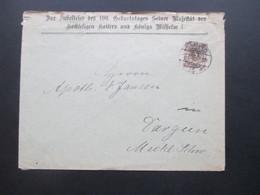 DR 1897 Umschlag Zur Jubelfeier Des 100. Geburtstages Seiner Majestät Des Hochseligen Kaisers Und Königs Wilhelm I. - Covers & Documents
