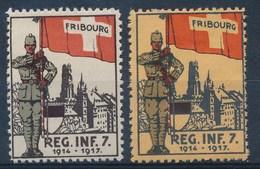 """HELVETIA - Soldatenmarken - """"Fribourg - Regt. Inf. 7 - 1914-1917"""" (2 Ex.)  - MH* - (ref. 10) - Vignettes"""