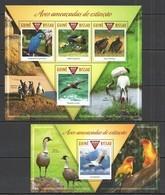ST1061 2015 GUINE GUINEA-BISSAU FAUNA ENDANGERED BIRDS AVES AMEACADAS EXTINCAO KB+BL MNH - Oiseaux