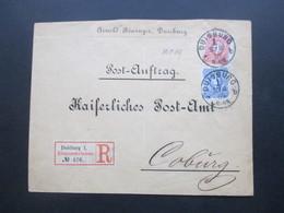 DR 1889 MiF Nr. 41 U. 42 R-Zettel Eingeschrieben Duisburg 1 Postauftrag An Das Kaiserliche Postamt Zu Coburg - Covers & Documents