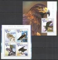 ST1131 2015 GUINE GUINEA-BISSAU FAUNA BIRDS AVES DE RAPINA KB+BL MNH - Adler & Greifvögel