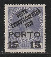 TCHECOSLOVAQUIE - N°122 * (1919) Timbre D'Autriche Surchargé(porto) - Cecoslovacchia