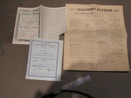 PEPINSTER - ETS LA TEXTILE DE PEPINSTER - REGLEMENT D'ATELIER LOI 15/6/1896- CACHET DE 1940+ACTION+PARTICIPATION CAPITAL - Documents Historiques