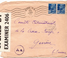 Postal History Cover: Algeria Cover From 1943 To Red Cross Geneva Opened By Examiner 2406 - Red Cross