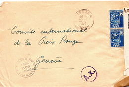 Postal History Cover: Algeria Cover From 1943 To Red Cross Geneva Opened By Examiner 1109 And 2055 - Red Cross