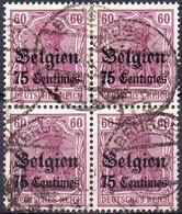 OC6a (lilas Foncé) Oblitéré En Bloc De 4  (cote 10,00 €) - Weltkrieg 1914-18
