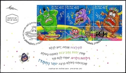 ISRAEL 2019 - Children Stories Monsters - A Strip Of 3 Stamps With Tabs - FDC - Fairy Tales, Popular Stories & Legends