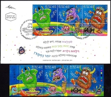 ISRAEL 2019 - Children Stories Monsters - A Strip Of 3 Stamps With Tabs - MNH & FDC - Fairy Tales, Popular Stories & Legends