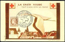 """Y/T N° 681 Seul Sur  CP - Oblit. """"EXPion PHILATque CROIX ROUGE FR - PARIS - 16 NOV 46"""". - Covers & Documents"""