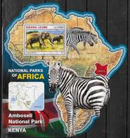 SIERRA LEONE BF 970 * * ( Cote 20e ) Parc  Kenya Elephants Zebre - Olifanten