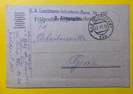 9560 - Lanstrurm-Infanterie Baon No 153 Feldpostamt 110 22.06.1916 Pour Graz - Covers & Documents