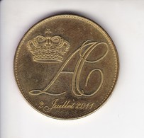 Medaille Jeton Touristique Mariage 2 Juillet 2011  Albert Et Charlène Monaco - Tourist