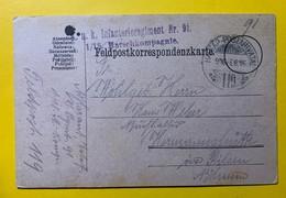 9561 - Infanterieregiment Nr 91 1/18 Maerschkompagnie Hadtap-Postahivata 119 16.02.1916 - Covers & Documents