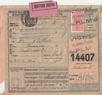 1924 / Colis Postal 14407 / Valeur Déclarée / Timbre N° 30 / Articles Pharmacie OYHENART / 03 Vichy PLM - Colis Postaux