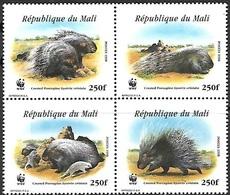 Mali  1998  Sc#918  WWF Porcupine Block/set  MNH  2016 Scott Value $6.75 - Unused Stamps