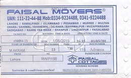 Pakistan Bus Ticket, Lahore To Islamabad - Monde