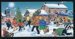 MARC SLEEN - GEHANDTEKENDE NIEUWJAARS KAART VAN MARC SLEEN NAAR FAMILIE - 22.5 X 11 CM  - 4 AFBEELDINGEN - Autres Illustrateurs