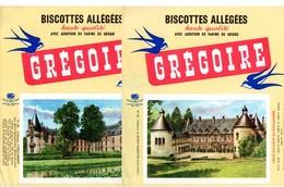 Lot  De 5 Buvards Grégoire. Châteaux De Bussy-Rabutin, Esclimont, Brégançon, Lourdes, Bailleul. 2 Photos. - Biscottes