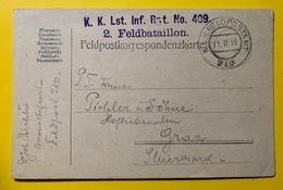 9563 -  Lst Inf.Rgt No 409 2. Feldbataillon Feldpostamt 210 11.02.1916 - Covers & Documents