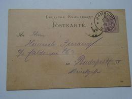 ZA250.16 Deutsche Reichspost - Postkarte HAMBURG  1886 Ganzsache  5 Pf.  Nach Budapest Ungarn - Covers & Documents