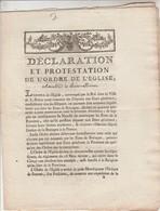 Déclaration Et Protestation Ordre Eglise Assemblée De St BRIEUC Bretagne Députés Etats Généraux 1789 Voir Description - Historical Documents