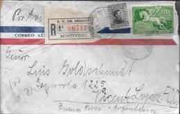 LUCIA INTELMANN DE MONTEVIDEO URUGUAY EN 1945 LE ENVIA ESTE SOBRE A LUIS GOLDSCHMIDT A VICENTE LOPEZ Y PLANES ARGENTINA - Uruguay