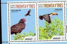 URUGUAY,2018, MNH, TOURIST DESTINATIONS, BIRDS, TOUCANS, 2v - Otros