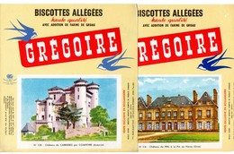 Lot  De 5 Buvards Grégoire. Châteaux De Cabrières, Pin, Yerres, Pont-L'Abbé, Flers De L'Orne. - Biscottes