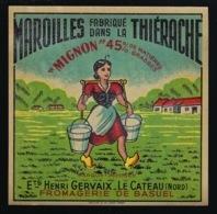Etiquette Fromage  Maroilles Mignon  Fabriqué En Thierache Ets Henri Gervaix  Le Cateau Nord  Fromagerie De Basuel - Cheese