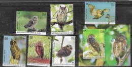 FAUNA, 2019, MNH, BIRDS, OWLS, MICE, 6v+S/SHEET - Owls
