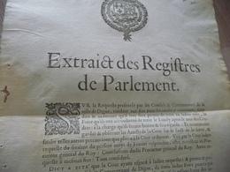 Peste 1629 Extrait Des Registres Du Parlement Digne Autorisation De La Foire En Respectant Les Recommandation Sanitaires - Decrees & Laws