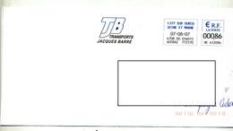 Lettre Flamme Ema Lizy Transport Barré Bicolore - Marcophilie (Lettres)