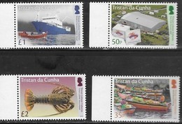 TRISTAN DA CUNHA, 2019, MNH, CRUSTACEANS, LOBSTERS, LOBSTE FISHERIES, BOATS, SHIPS, 4v - Crostacei