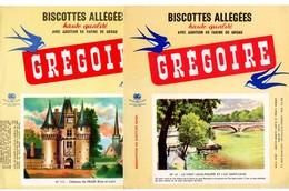 Lot  De 7 Buvards Grégoire. Châteaux De Fraze, St-Malo, De La Malmaison, Haroue. Square Louis XVI, Pont Louis Philippe, - Biscottes