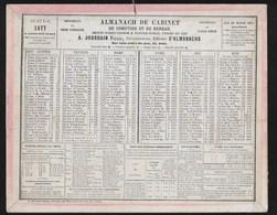 Almanach De Cabinet  JOURDAIN PARIS  1877   TTTB état - Kalender