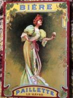 CPM PUB PUBLICITE ANCIENNES BIERE PAILLETTE LE HAVRE FEMME COLLEC AUTHENTIQUES IMAGINAIRES 2005 - Pubblicitari