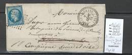 France - Lettre - Yvert 14 - PC2800- Sancey Le Grand - Doubs - Type 22 - 1861 - Marcofilia (sobres)