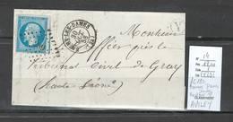 France - Lettre - Yvert 14 - PC289 Baumes Les Dames  -Facteur Y - IDENTIFIE D'AVILEY - Marcophilie (Lettres)