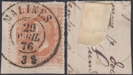 "BELGIQUE COB 32 OBL CENTRALE DOUBE CERCLE ""MALINES 29/AVRIL 1876"" (DD) DC-5038 - 1869-1883 Leopold II"