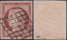 """FRANCE YV 6 TRES BIEN MARGES OBL GRILLE SIGNES """"CALVES ET MIRO"""" (DD) DC-5039 - 1849-1850 Cérès"""
